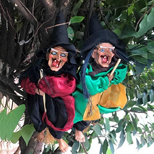 Bureze Halloween-Dekoration zum Aufhängen, animiert, sprechende Hexe, 31 cm