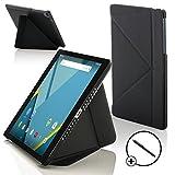 Forefront Cases® Google Nexus 9 8.9 Zoll Origami Hülle Schutzhülle Tasche Bumper Folio Smart Case Cover Stand - Rundum-Geräteschutz und intelligente Auto Schlaf / Wach Funktion inkl. Eingabestift (SCHWARZ)