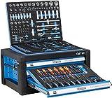 DeTec. Werkzeugkiste mit Werkzeug | Werkzeugkasten in blau | 3 Schubladen inkl. 129 tlg. Werkzeugsortiment