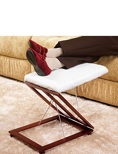 Verstellbare Fußstütze Holzschemel Flauschig Gepolstert 3-Fach Verstellbar
