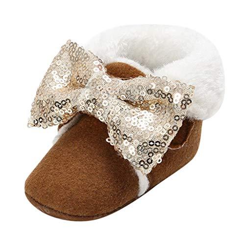 WEXCV Baby Mädchen Schuhe Winter Warm Sequin Bow Plüsch Kleinkindschuhe Anti-Rutsch-Weiche Booties Schneeschuhe Freizeitschuhe Lauflernschuhe für 0-15 Monate