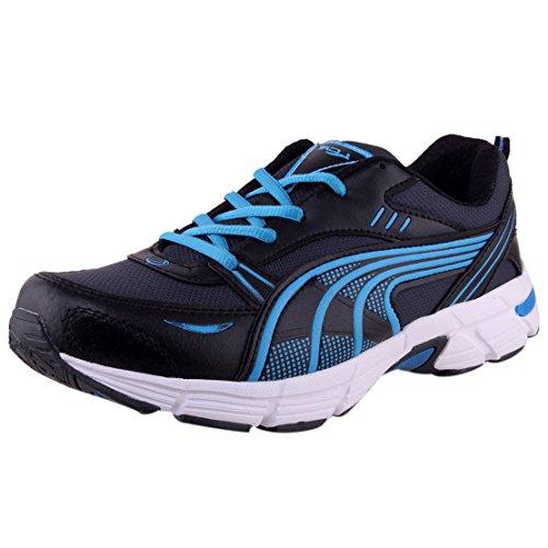 Lancer Men's Germanyblk-Sky-42 Black & Sky Blue Mesh Sports Running Shoes 8 UK