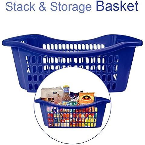 Impilabili Baskets- salvaspazio Solution- Cabinet Organizer- Store Cereali, negozi, utensili da cucina, pulizia supplies- costruzione in plastica durevole, Blue, confezione da 1