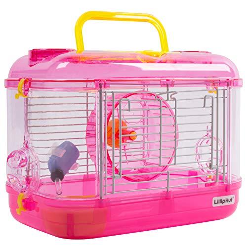 Zedelmaier Transportbox für Hamster Nager Mäuse mit Rohrsystem und Trinkflasche (Pink - 33 x 20 x 23 cm) (Transportbox Für Hamster)