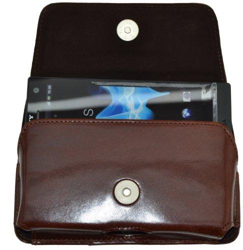 MTT Original Quer-Tasche mit Gürtelschlaufe für Sony Xperia T braun