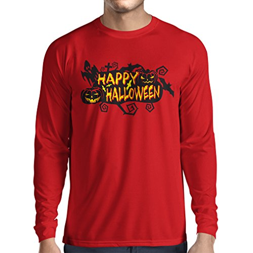 (Langarm Herren t Shirts Owls, Bats, Ghosts, Pumpkins - Halloween Outfit Full of Spookiness (Small Rot Mehrfarben))