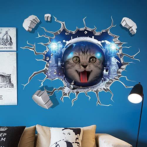Ygbf space cats 3d wall stickers casa decori per la casa divano tv soggiorno decorazione grandi dimensioni sfondi per la camera dei bambini spedizione gratuita