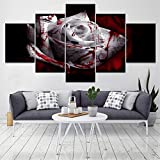 Rjjrr Canvas Hd Prints Pictures Modern Wall Art 5 Pezzi Blood Dark White Rose Flower Modulari Poster Decorazioni Per La Casa Soggiorno Senza Cornice Camera Da Letto 40x60cm