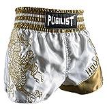 penixon Chinesischer Drache Muay Thai Shorts Hose Trainingsshort (Golden, M für 80-90 cm Taillenumfang)
