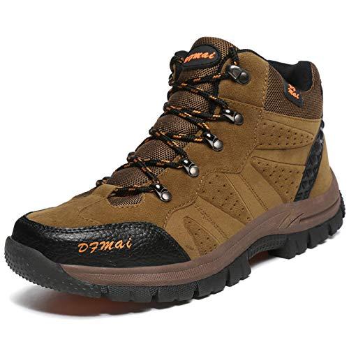 MERRYHE Scarponi da Trekking Classici da Uomo Scarponi da Trekking Sportivi All'aperto Arrampicata da Campeggio Scarpe da Montagna Scarpette da Ginnastica per Principianti,Brown-47