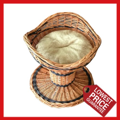 8 Easypet Luxury Oval Wicker Pet Basket with Fur Lined Inner and Cushion 22
