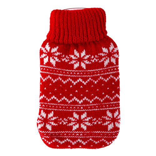 Taschenwärmer + Strickbezug - Norway - Wärmflasche Handwärmer Wärmepad Firebag, Farbe:Rot