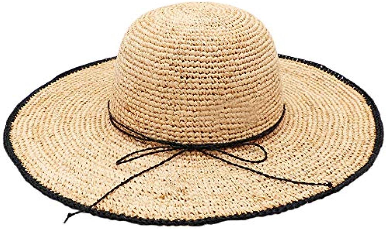 Zhongsufei Cappello da Passeggio da da Donna Floppy Beach Cappello da da  Passeggio UPF50 Pieghevole Paglia Larga Cappello... Parent 513464 460de5b30f43