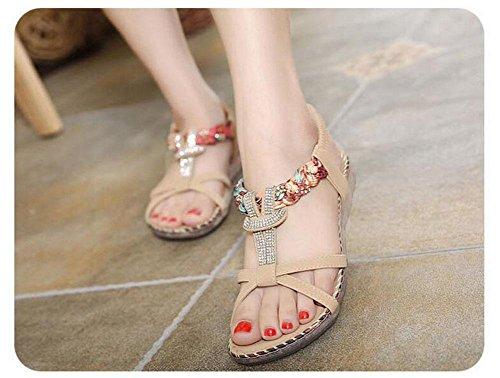 Open Toe Sandalen Sommer Diamond Slingback Flat Heel Student Schuhe für Frauen apricot