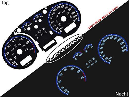 LETRONIX Plasma Tacho Tachoscheiben für Auto Golf 4 Bora 0-260Km/h 7000U/min