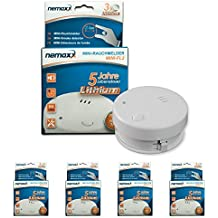 Nemaxx Mini-FL2 - Pack de 4 detectores de humo (certificado EN 14604)