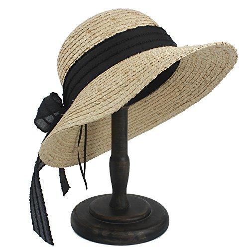Hat LinLiQiao- Stroh-Panama-Sonnenblenden-Hüte 100% Raffinerie für Frauen Gilrs Wide Brim Beach Caps (Farbe : Natürlich, größe : 56-58cm)