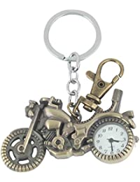 Iktu Designer Motor Bike Key Chain Pocket Watch Clock Antique Keychain