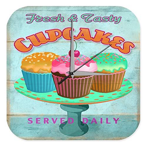 Wanduhr Nostalgie Fun Deko frische Cupcakes bunt Streusel Acryl Wand Uhr