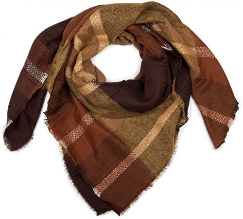 styleBREAKER quadratischer XXL Schal, Deckenschal mit Tartan Plaid Muster und Fransen, warm und weich, Unisex 01018139, Farbe:Senf-Dunkelbraun -