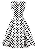 FAIRY COUPLE 50er V-Ausschnitt Rockabilly Polka Blumen Jahrgang Kleid Cocktail DRT072(S,Weiße Schwarze Punkte)
