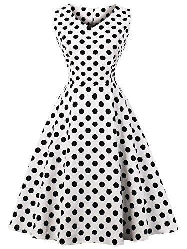 FAIRY COUPLE 50er V-Ausschnitt Rockabilly Polka Blumen Jahrgang Kleid Cocktail DRT072(3XL,Weiße Schwarze Punkte) (Und Weiß Blumen-mädchen-kleid-schwarz)