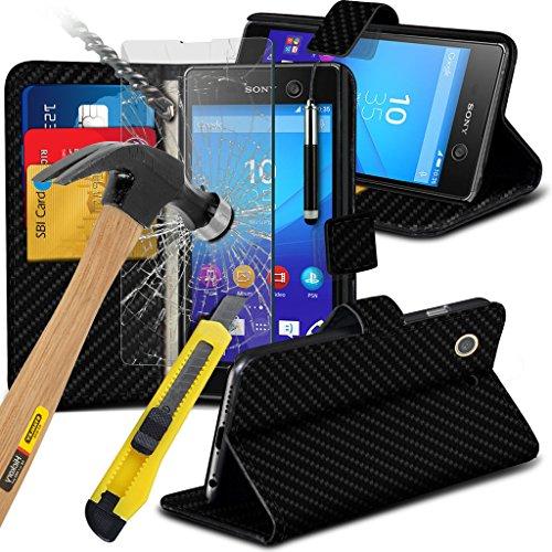 Étui pour Sony Xperia M5 / Sony Xperia M5 E5603, E5606, E5653 Titulaire de téléphone Case voiture universel Mont Cradle Dashboard & pare-brise pour iPhone yi -Tronixs Black Carbon + Glass