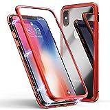 ZHIKE Coque pour iPhone X/XS, Coque d'adsorption magnétique Cadre métallique Ultra Fin Verre trempé avec Couvercle à Aimant intégré pour Apple iPhone 10/X/XS (Rouge Clair)