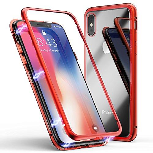 Zhike custodia per iphone x/xs, custodia ad assorbimento magnetico montatura in metallo ultra sottile vetro temperato con cover magnetica integrata per iphone x/xs (rosso trasparente)