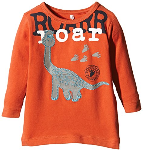 Verziert Long Sleeve Jersey-t-shirt (NAME IT Baby - Jungen Langarmshirts Nitnick Nb Cu Ls Top Ger 515, mit Print, Gr. 68, Orange (Chili))