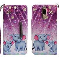Für Huawei Mate 10 Lite Leder Brieftasche Hülle mit Muster [Feuerwerk Elefant] und Schutzfolie,QFUN Bookstyle Klappbar Handyhülle,Magnetverschluss Schutzhülle mit Kartenfach,Standfunktion,Stoßfest Anti-Rutsch Cover Flip Case für Huawei Mate 10 Lite