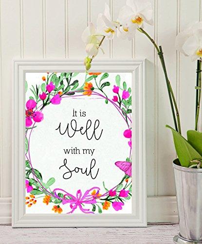 Bibel Vers, Wall Art–Es ist auch mit My Soul–Schwarz Buchstabe Print, inspirierendes Zitat–Hochzeit Art–Blumen, Faith Kunst, Ermutigend, Leinwand, Wand Decor (12x 10) (Buchstaben Wand-dekor Holz Schwarzen Mit)