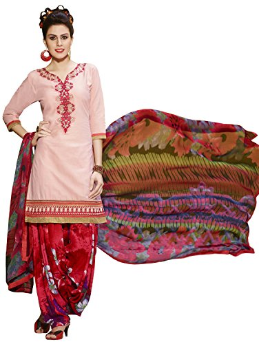 KVSFAB Women\'s Pink Pure Cotton Cambric Patiala Suit[3765Zara-3]
