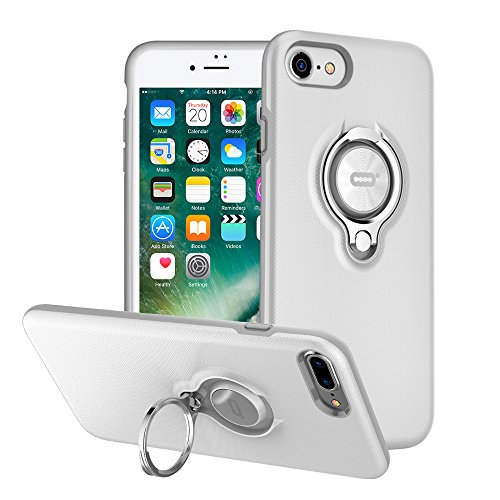 iPhone 7 Hülle, iPhone 8 Tasche mit Ringständer von ICONFLANG, 360 Grad drehbarer Ring Grip Case, Dual Layer Stoßfest Schlagschutz für iPhone 8, iPhone 7,Kompatibel mit Magnetic Car Mount