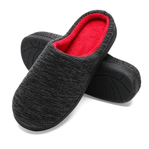 Zapatillas de casa de Hombre, Ultraligero cómodo y Antideslizante, Zapatilla de Estar por casa para Hombre, Negro, Interior: Rojo, EU 44-45 (Longitud 28-28.5CM)