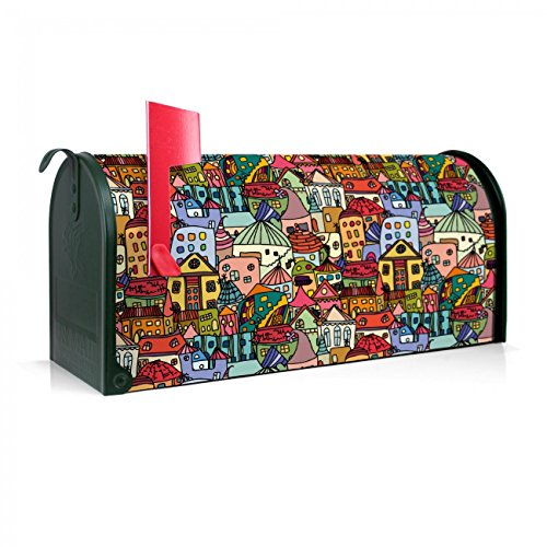 BANJADO US Mailbox | Amerikanischer Briefkasten 51x22x17cm | Stahl grün mit Motiv Funky Town