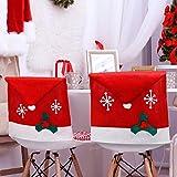 4 Pezzi Copre Sedia di Natale Decor, Babbo Natale Rosso Cappello Fiocco di Neve, Coprimobili Set per Natale Decorazioni (Bianco Fiocco di Neve)