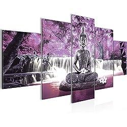 Cuadros de 200 x 100 cm - Cuadro de Feng Shui - Cuadro en lienzo no tejido - Imagen artística en lienzo para la pared - Impresión de arte – Imagen para la pared – Formato XXL –Más colores y tamaños en la tienda – ¡¡¡Totalmente estirados!!! ¡¡¡100 % FABRICADOS EN ALEMANIA!!! - Buda-Caída de agua-Flor-Árbol 503551c