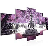 Bilder Buddha Wasserfall Wandbild 200 x 100 cm Vlies - Leinwand Bild XXL Format Wandbilder Wohnzimmer Wohnung Deko Kunstdrucke Violett 5 Teilig - MADE IN GERMANY - Fertig zum Aufhängen 503551c