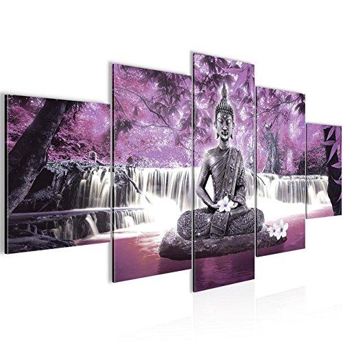 Photo Cascade de Bouddha Décoration Murale 200 x 100 cm Toison - Toile Taille XXL Salon Appartement Décoration Photos d'art Violet 5 Parties - 100% MADE IN GERMANY - prêt à accrocher 503551c