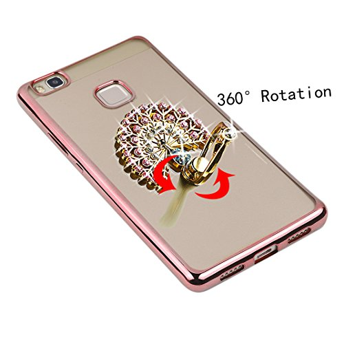 Custodia P9 Lite Silicone,Ring Holder Phone,Asnlove Ring Holder Supporto Anello con Bling Brillanti Diamond Custodia Cover TPU Silicone per Huawei P9,Auto Supporto Protecttiva Case Cover Bumper per Ce color-12