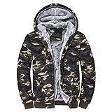 Camouflage Wintermantel Herren, DoraMe Männer Kapuzenpulli Sportjacke Winter Warme Fleece Pullover Mantel Tarnung Hoodie Sweatshirt(Bitte wählen Sie eine größere Größe als üblich) (Multicolor, L) -