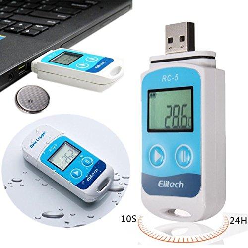 Temperatur Datenlogger MOHOO Mini USB Temp Rekorder Interner Externer Sensor Hohe Genauigkeit Temperatur Data Logger 32000 Punkte Record Kapazität Wasserdicht nach IP67-Upgrade für Lager Labor und Hause usw. (Temperatur Hohe Lcd)