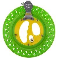 MagiDeal Carrete Devanadera Enrollador Mango Plegable Intercambiable Duradero Pesca - Verde Amarillo