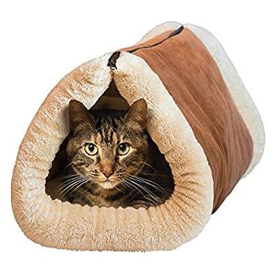Mixse Deluxe 2 in 1 Tube Cat Mat and Bed, Large Pet Bed with Self-heating Thermal Core Furniture&Carpets Fur-free Warm House for Cat / Puppy, Plush Pet Accessories