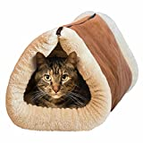Mixse Deluxe 2 in 1 Tube Cat Mat and Bed, Large Pet Bed with Self-heating Thermal Core Furniture&Carpets Fur-free Warm House for Cat/Puppy, Plush Pet Accessories