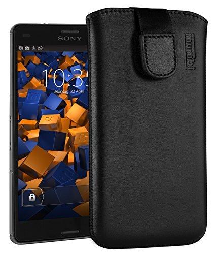 mumbi ECHT Ledertasche für Sony Xperia Z3 Compact Tasche Leder Etui (Lasche mit Rückzugfunktion Ausziehhilfe)