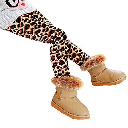 ZEARO Winter Mädchen Leggings Tonsee Dicke warme elastische Taille Legging Kleidung Hose(Leopard,7T) (Hose Leopard Fleece)