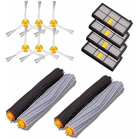 Lacaca Kits de repuesto para iRobot Roomba 800870880900980Series Aspiradora accesorios kits-includes Pack de 4Filtro HEPA, 6Pack 3-Armed Side Brush y 2Par sin enredos escombros