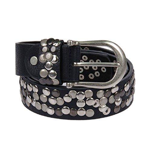 Kossberg 51182 - Cinturón de piel con tachuelas para mujer negro 90 c